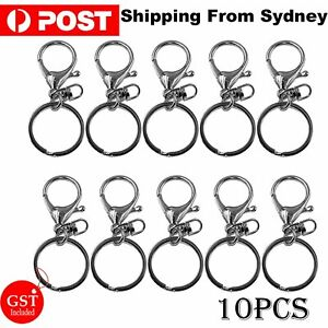 10 PCS Silver Swivel Lobster Clasp Trigger Clip Key Ring Keychain Split Ring DIY
