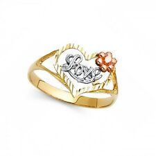 Heart Love Ring 14k Yellow White Rose Gold Flower Band Diamond Cut Fancy Solid