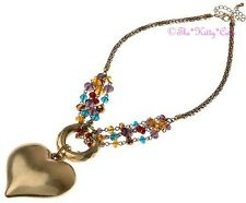Deco Vintage Chic Lk Czech Rainbow Glass Beaded Bronze Gold Puffy Heart Necklace