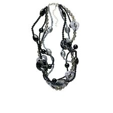 Multi Strand Beaded Necklace 22 inches Black Silver Bulky Jewelry