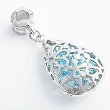 Fashion Korean jewelry Lovely Womens Blue CZ Pendant sterling silver Plated