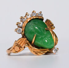 Vintage beauty! Solid 18k carved Colombian emerald diamond baby ring 2.2 gr.
