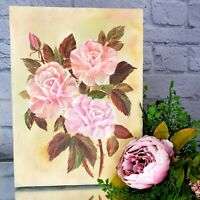 Vintage Pink White Tipped Roses Painting on Canvas Artist Signed H. Jones ART