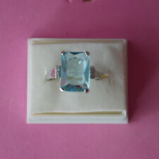 Beautiful 925 Filled Silver Ring With Aquamarine & Cz. 4 Gr.1.5X1.1 Cm. In Box