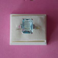 BELLO 925 PIENA ARGENTO ANELLO CON ACQUAMARINA & cz. 4 gr.1.5x1.1 cm. in scatola
