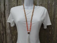 """Natural Stone Beaded Pendant Necklace Agate Beads New Gift 40"""" Inch"""