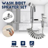 Stainless Steel Handheld Bidet Spray Shower Head Toilet Adapter Hose kit Silver