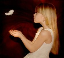 """perfect 30x30 oil painting handpainted on canvas """"a little girl,a feather""""NO2212"""