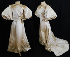 Victorian Cream Silk Brussels Lace Balloon Sleeve Wedding Gown Long Train Skirt
