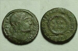 "Constantine ""eyes to (heaven) God"" Rare genuine ancient Roman coin Laurel wreath"