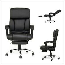 Executive Reclining Ergonomic High Back Office Chair Leather Footrest Armchair
