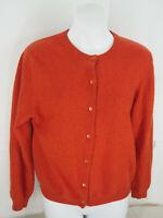 Neiman Marcus Orange Cashmere L/S Button Cardigan Sweater L (36in Bust 22L )