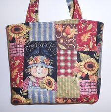 Handmade Fall Harvest Scarecrow Leaves Acorns Sunflowers Tote Purse Bag