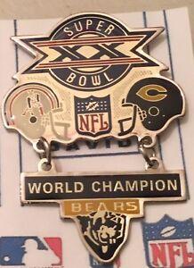 Super Bowl 20 Bears Patriots Hanging Champs Dangle Pin