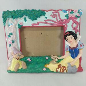 "Vintage Walt Disney Snow White, Dopey & Animals Picture Frame 3x5""Photo"