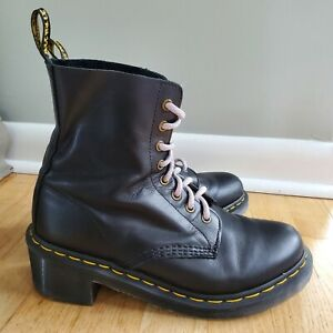 Dr. Martens Clemency Black Leather Heeled 8-Eye Heel Combat Boots Women Sz 9