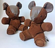 2 Sandy Vohr Leather Zoo Suede Teddy Bear Book End Bean Bags