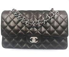 "Chanel Espresso Brown Lambskin Timeless 10"" Double Flap  Shoulder Bag"