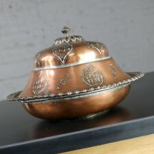 Antique Turkish Ottoman Copper Lidded Bowl Hand Forged Hand Chiseled and Tinned