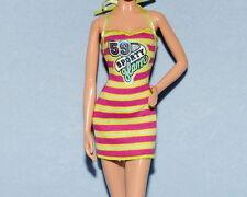 SPORTY Pink & Yellow Horizontal Striped Genuine BARBIE Sleeveless Dress Clothes
