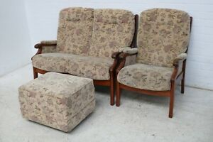 MID CENTURY CINTIQUE 2 SEATER SOFA AND ARMCHAIR