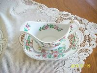 Saxon Vintage China Oriental Pattern Gravy Boat and Under Plate (Saxon) Embossed