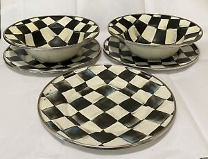 5 MacKenzie Childs Plate Bowl Dish Lot Courtly Check Enamelware Checked Vintage