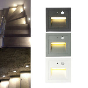 1-12Pcs 3W LED Wall Stair Night Recessed Light Motion Sensor Indoor Outdoor Lamp