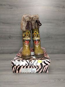 Ed Hardy Tiger Tall Rain Boots W/ Fur & Brown Laces Women's Size 6 (READ)