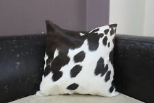Cowhide Decorative Pillows Black and White 16x16 Hair on Extra Soft Cushion