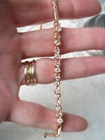 Buckley London rose gold metal crystal /zirconia tennis bracelet costume new