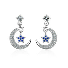 Womens 925 Sterling Silver Lovely Zircon Star And Moon Couple Stud Drop Earrings
