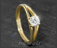 Diamant Brillant 585 Gold Solitär Ring 0,61 ct, Wesselton & Si2, Verlobungsring
