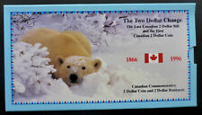 1996 CANADA CRISP PAPER $2 AND 1st. $2 UNCIRCULATED COIN (TOONIE) SPECIAL FOLDER