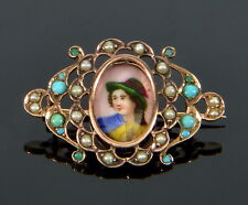 ANTIQUE VICTORIAN 9K HAND PAINTED VAGABOND BOY BROOCH PIN TURQUOISE PEARL