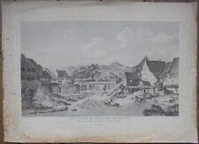 Gravure XVIIIe, Suisse, Laufon Laufen, Bâle, Radierung Etching 18th Switzerland
