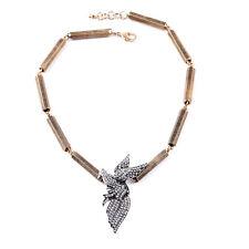 N1008 Forever 21 Sparkling Crystal Gem Messenger Pigeon Bird Swallow Necklace UK