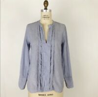 J Crew Womens Top Size 2 Corded Popover Striped Relaxed Tunic Blue White Stretch