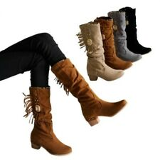 4 Colors Women Winter Warm Pull On Casual Round Toe Block Heel Mid Calf Boots D