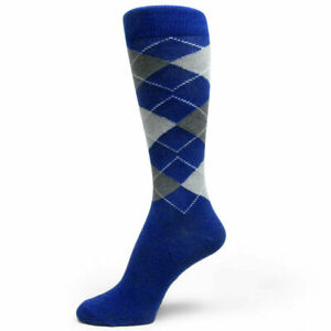 XL Royal Blue/Gray/Dark Gray Argyle Mens Dress Sock MA29
