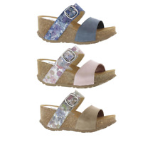 94964e1c ADESSO LILY BUCKLE WEDGE TWIN STRAP MULE SANDALS COMFORT SOLE