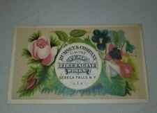 Very Rare 1880 Trade Card Rumsey & Co. Pumps & Fire Engines Seneca Falls NY Tuck