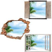 Window Wall Sticker Decal Vinyl 3D Tropical View Island beach Wallpaper home art