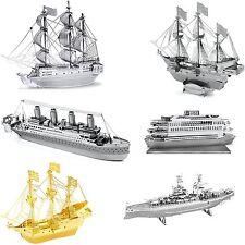 6 Metal Earth 3D Kits Black Pearl Titanic Golden Hind Commuter Ferry USS Arizona