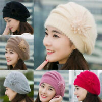 Women Ladies Knitted Beret Beanie Hat Rabbit Fur Winter Warm Crochet Ski Cap