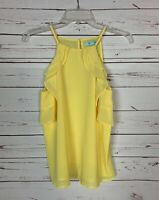 She + Sky Stitch Fix Women's M Medium Yellow Ruffle Sleeveless Top Tank Blouse