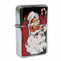 Refillable Oil Windproof Flip Top Lighter Santa Claus Jolly Candy Retro Vintage