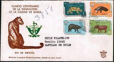 3837 Ecuador To Chile Circulated Registered Fdc Cover 1960 Mammals Fauna Baeza