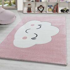 Kinderteppich süße Wolke muster Babyzimmer Kinderzimmer Pastell Rosa Weiss