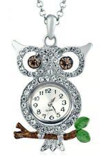 Silver Crystal Enamel Owl Pendant Necklace Watch 18mm Snap In Watch
